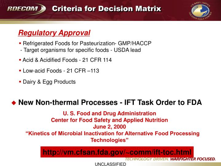 Criteria for Decision Matrix