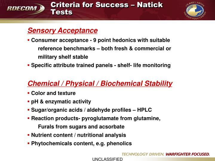 Criteria for Success – Natick Tests