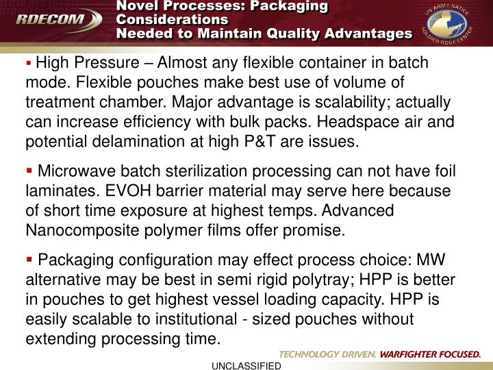 Novel Processes: Packaging Considerations