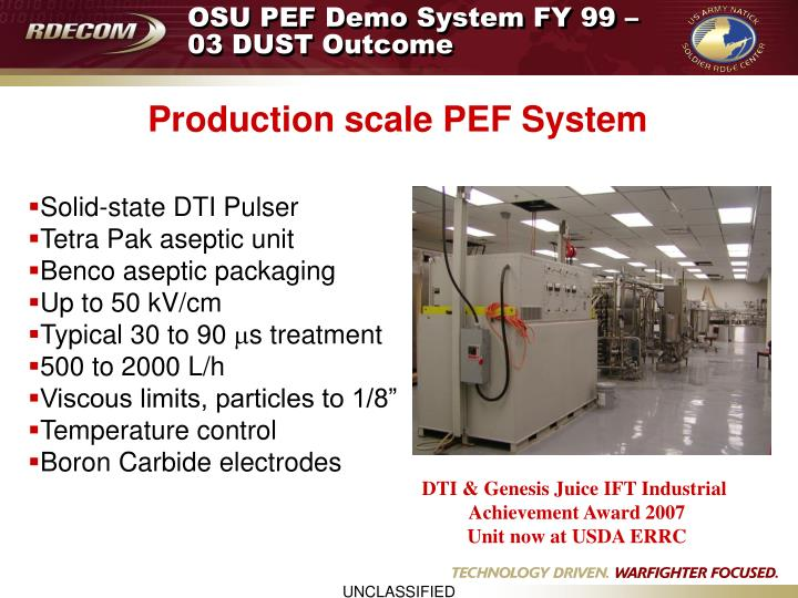 OSU PEF Demo System FY 99 –03 DUST Outcome