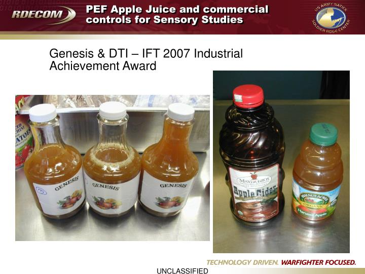 PEF Apple Juice and commercial