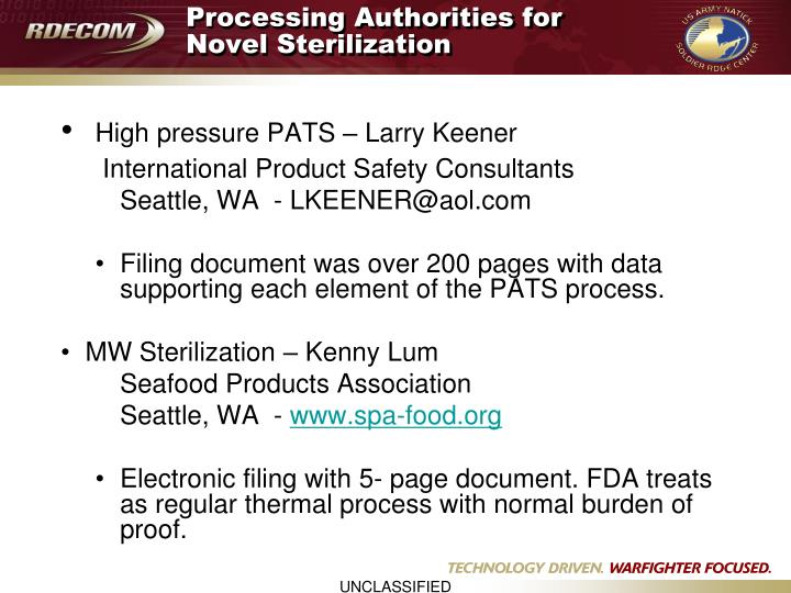 Processing Authorities for