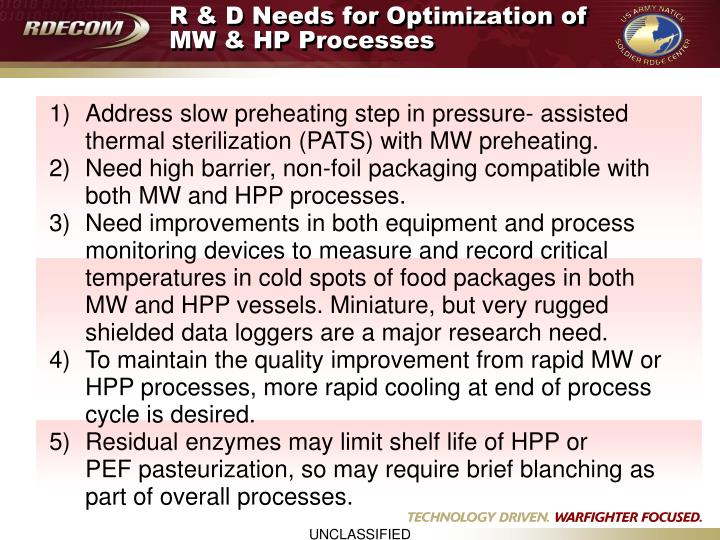 R & D Needs for Optimization of MW & HP Processes