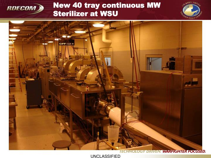 New 40 tray continuous MW Sterilizer at WSU