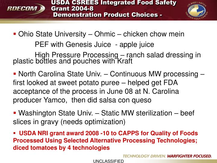 USDA CSREES Integrated Food Safety Grant 2004-8
