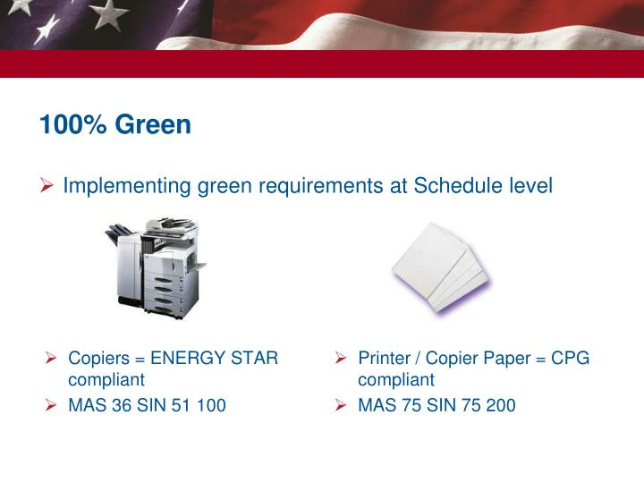 Implementing green requirements at Schedule level