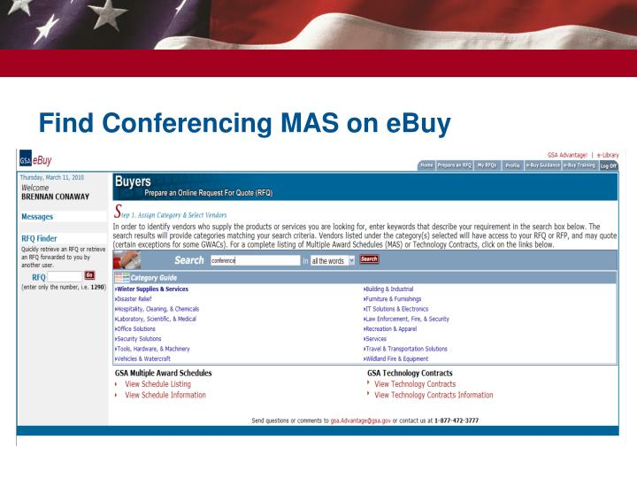 Find Conferencing MAS on eBuy