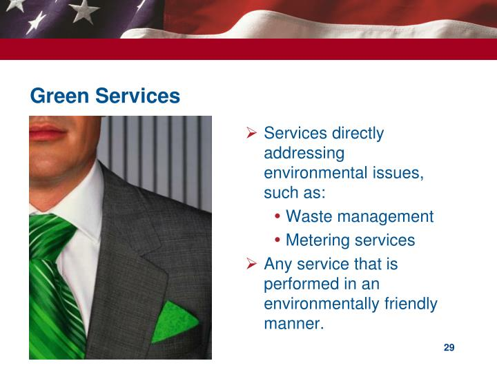 Services directly addressing environmental issues, such as: