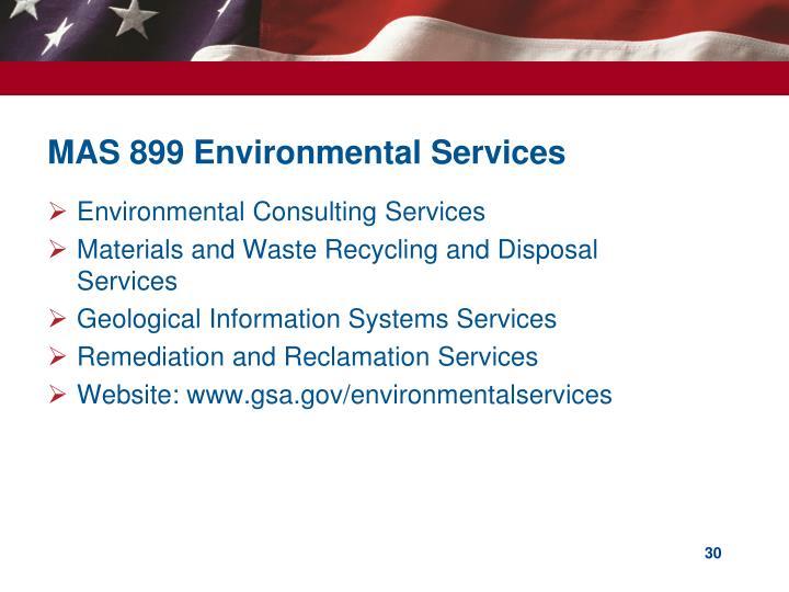MAS 899 Environmental Services