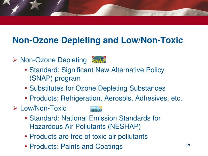Non-Ozone Depleting and Low/Non-Toxic