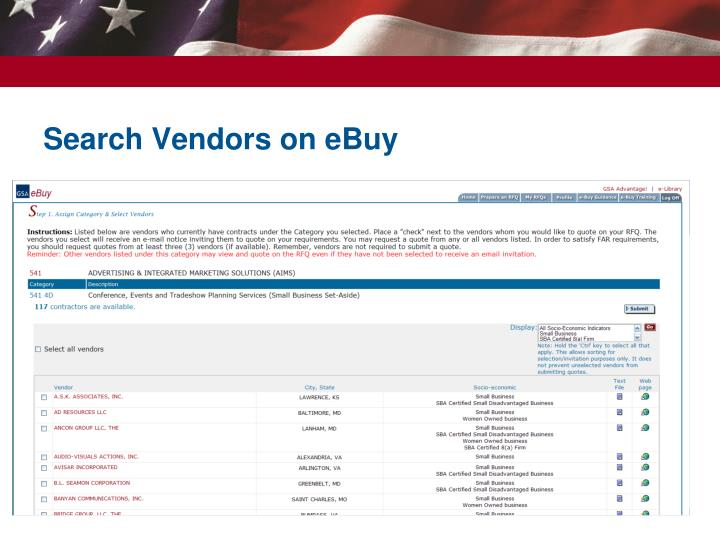 Search Vendors on eBuy