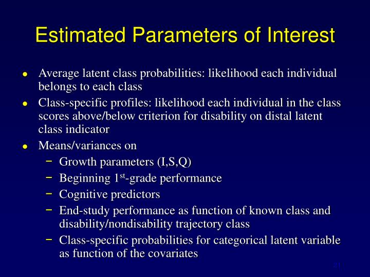Estimated Parameters of Interest