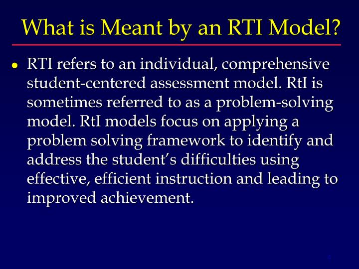 What is Meant by an RTI Model?