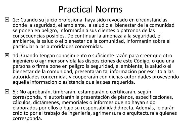 Practical Norms