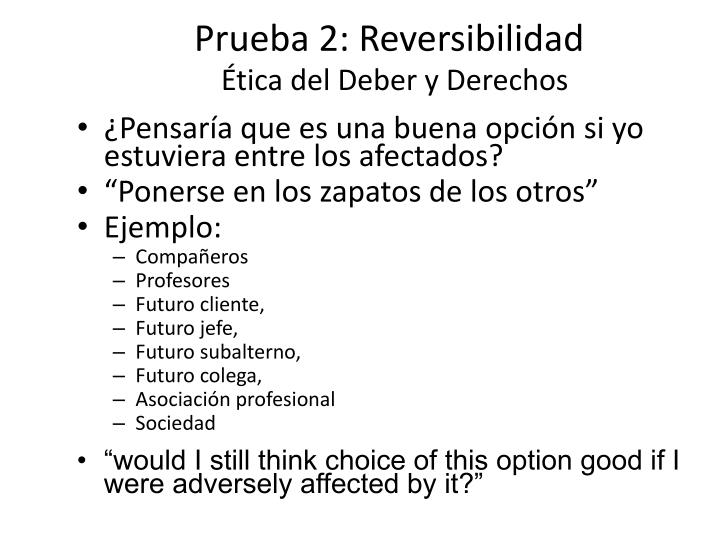 Prueba 2: Reversibilidad