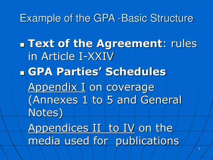 Example of the GPA -Basic Structure