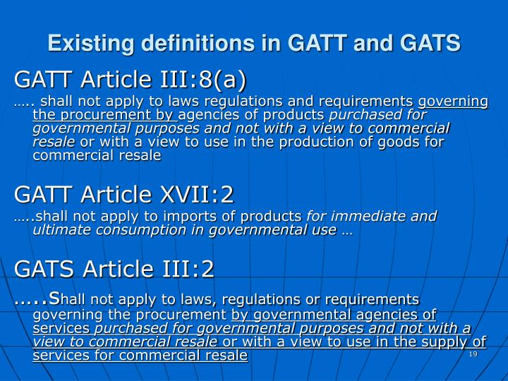 Existing definitions in GATT and GATS