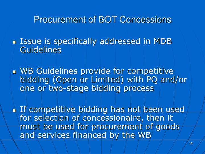 Procurement of BOT Concessions