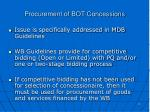procurement of bot concessions