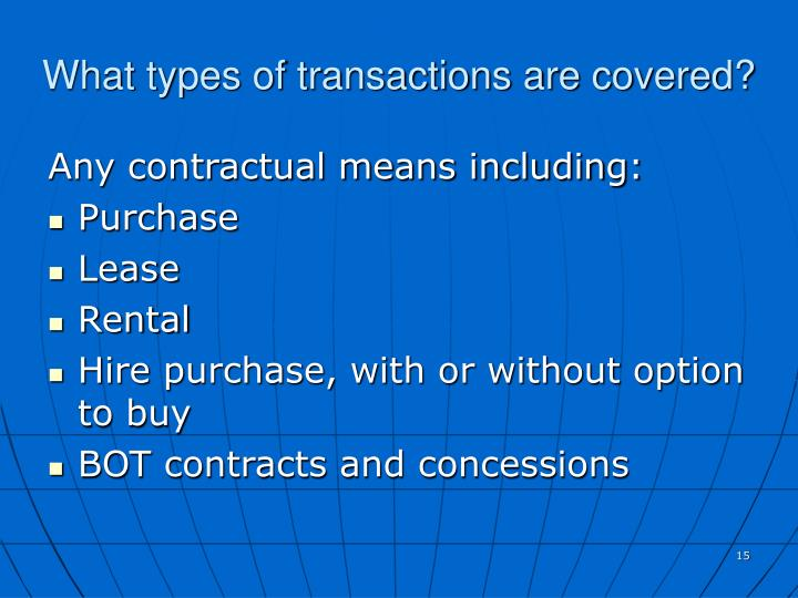What types of transactions are covered?