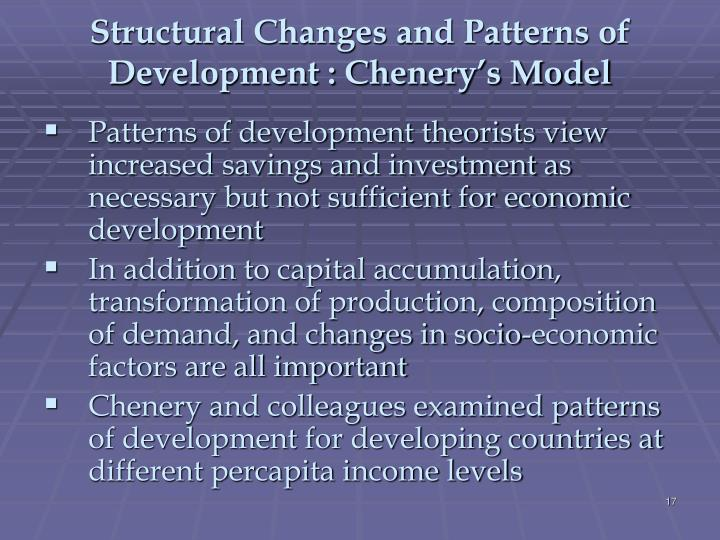 Structural Changes and Patterns of Development : Chenery's Model
