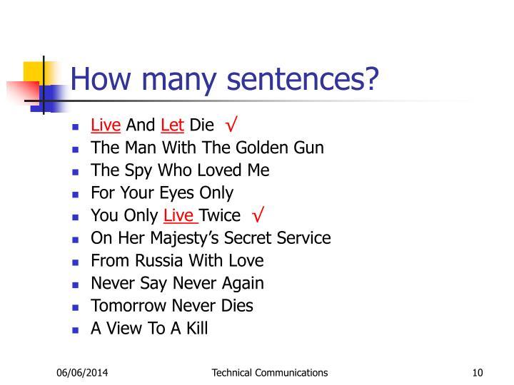 How many sentences?