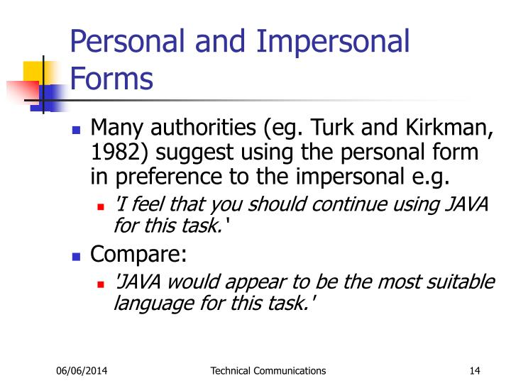 Personal and Impersonal Forms