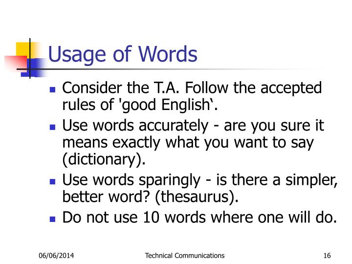 Usage of Words