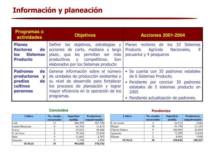 Información y planeación