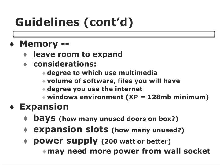Guidelines (cont'd)