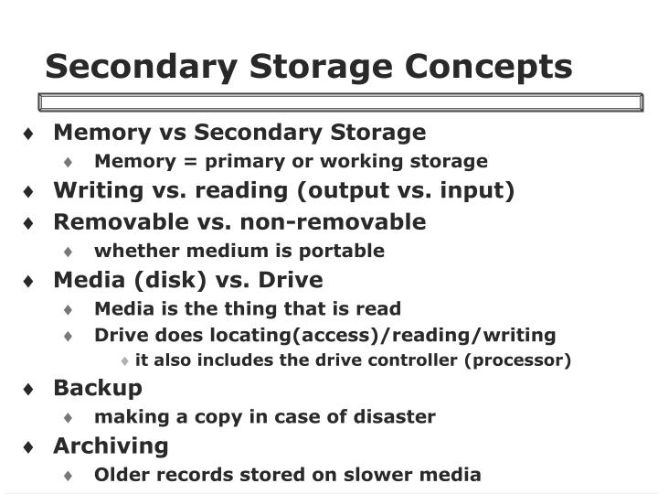 Secondary Storage Concepts