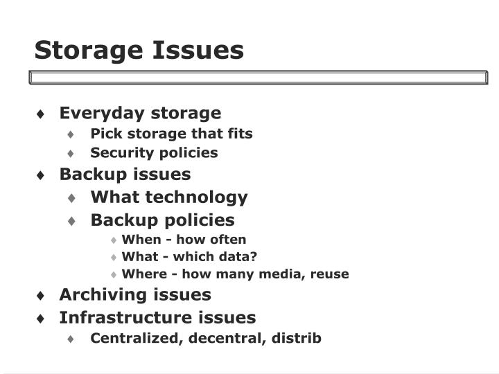 Storage Issues