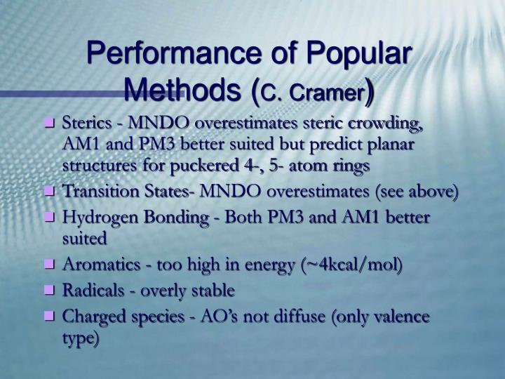 Performance of Popular Methods (