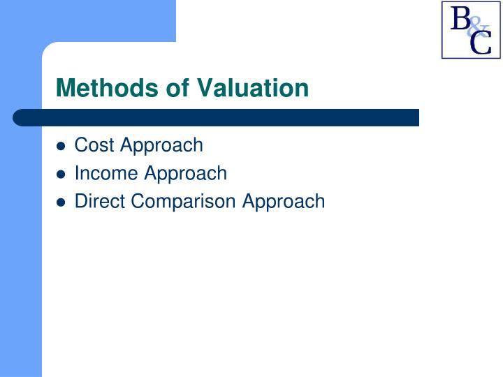 Methods of Valuation