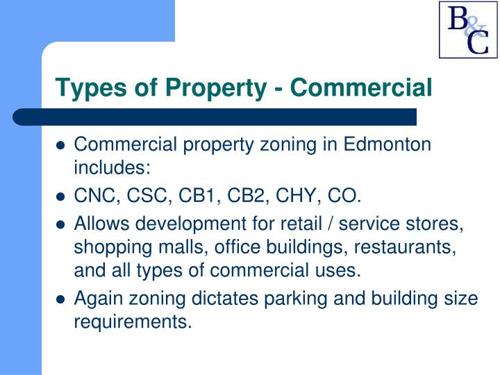 Types of Property - Commercial