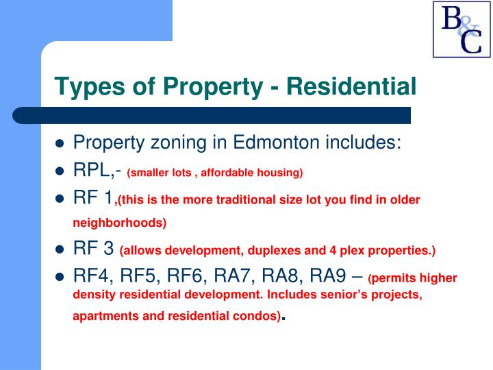 Types of Property - Residential