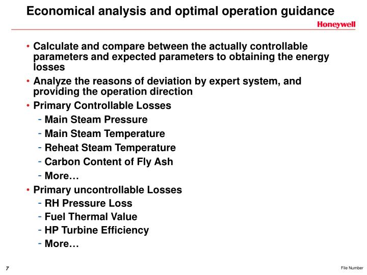 Economical analysis and optimal operation guidance