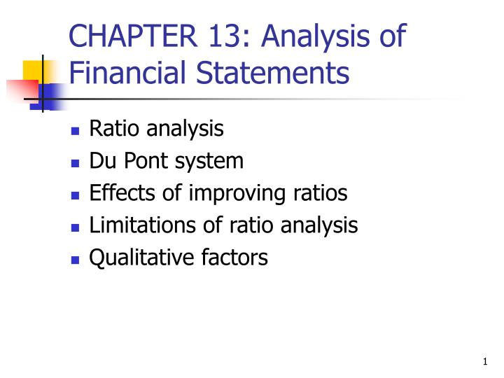 Chapter 13 analysis of financial statements
