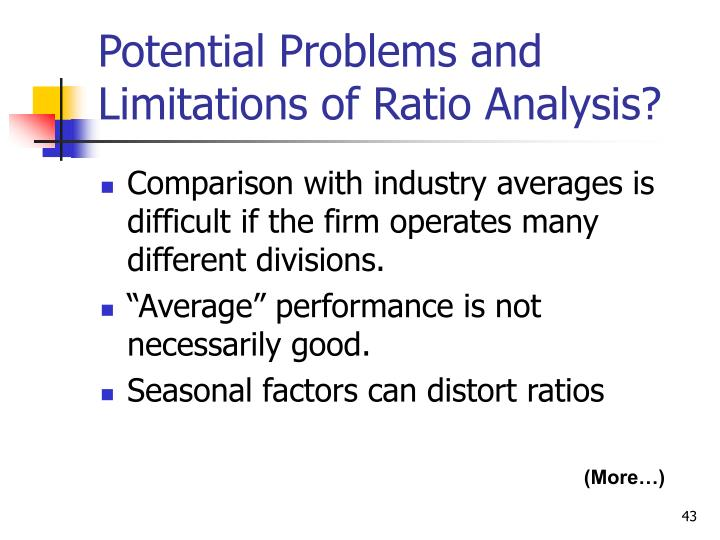 Potential Problems and Limitations of Ratio Analysis?