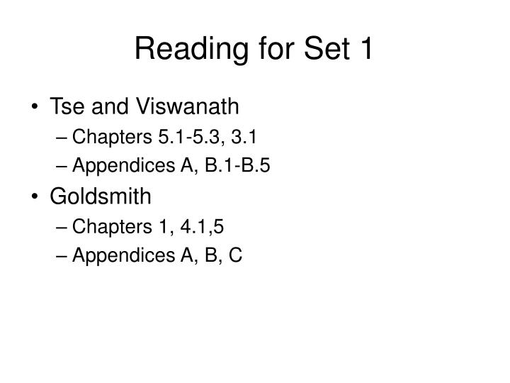 Reading for Set 1