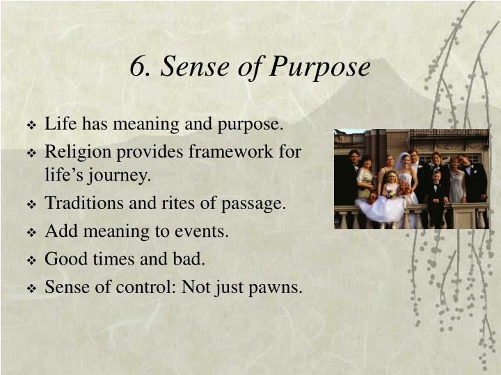 6. Sense of Purpose