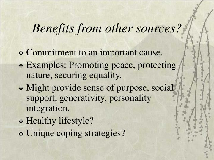 Benefits from other sources?
