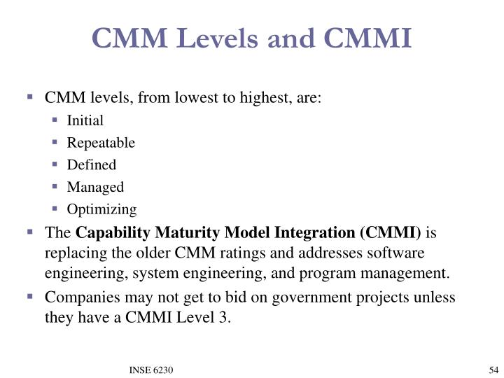 CMM Levels and CMMI