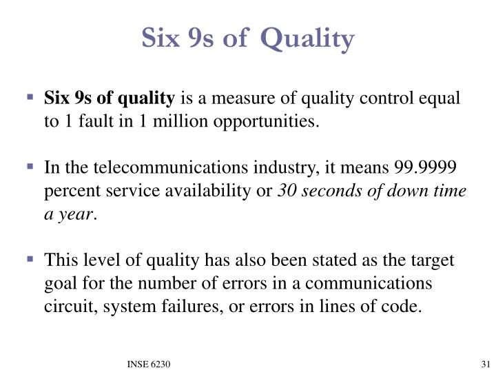 Six 9s of Quality