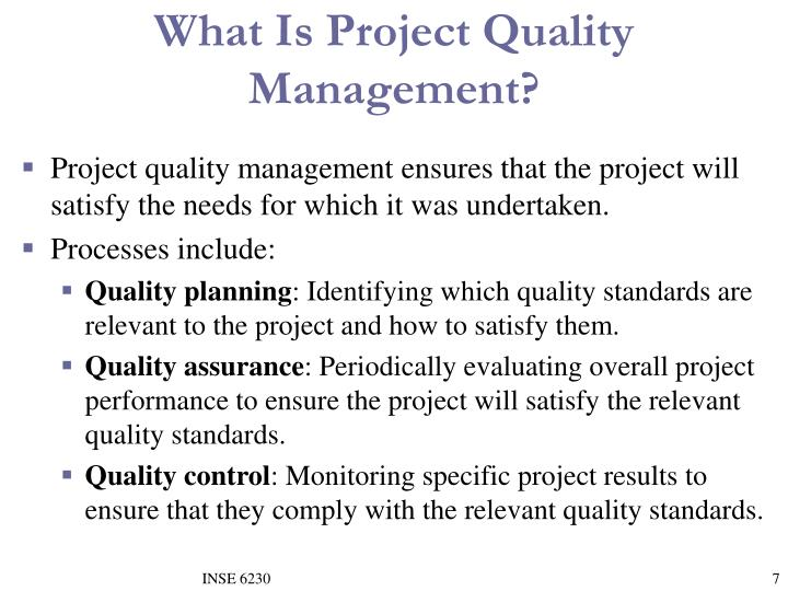 What Is Project Quality Management?