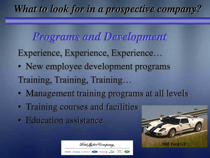 What to look for in a prospective company?