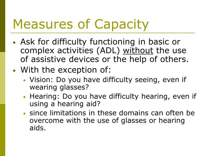 Measures of Capacity