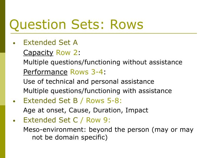 Question Sets: Rows