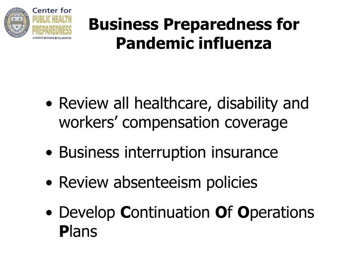 Business Preparedness for        Pandemic influenza