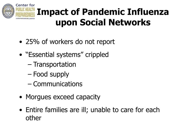 Impact of Pandemic Influenza  upon Social Networks